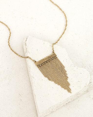 Gold Hammered Bar Necklace with Chain Tassel