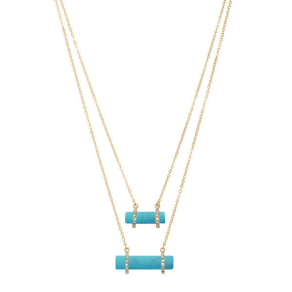 Duo Turquoise Stone Layered Necklace