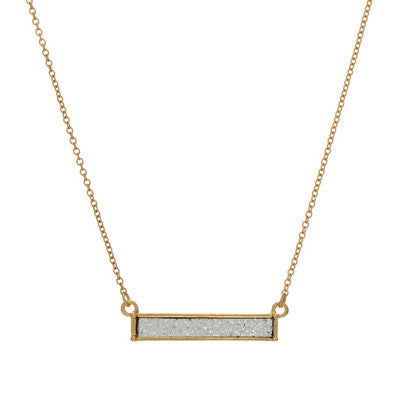 Metallic Silver Textured Bar Necklace
