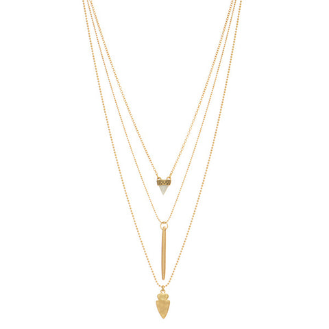 Gold Arrowhead Layered Necklace with Natural Stone