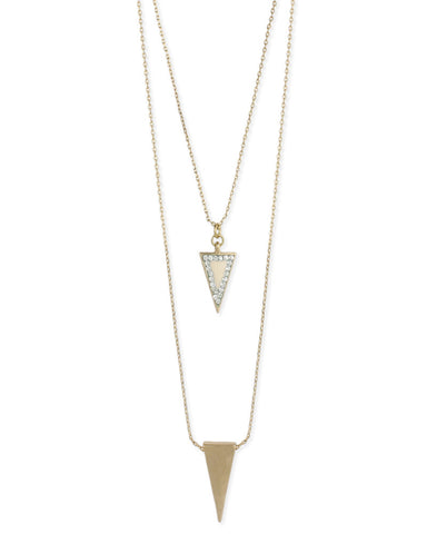 Layered Duo Arrow Gold Necklace in White