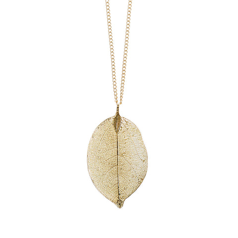Gold Dipped Natural Leaf Pendant Necklace