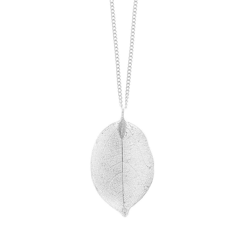 Silver Toned Metal Dipped Leaf Necklace
