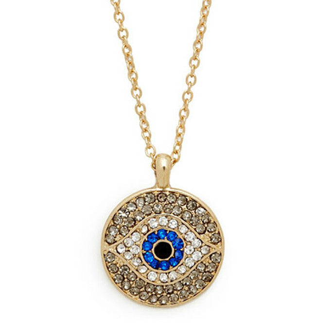 Rhinestone Eye Pendant Necklace