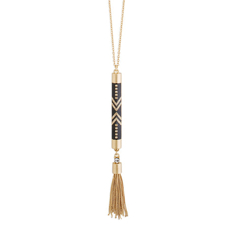 Black and Gold Pendant Necklace with Gold Tassel