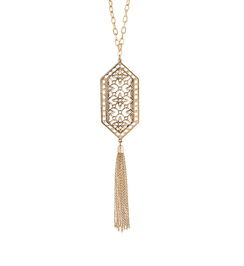 Gold Filigree Pendant and Tassel Necklace