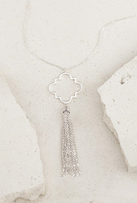 Silver Pendant with Metal Chain Tassel