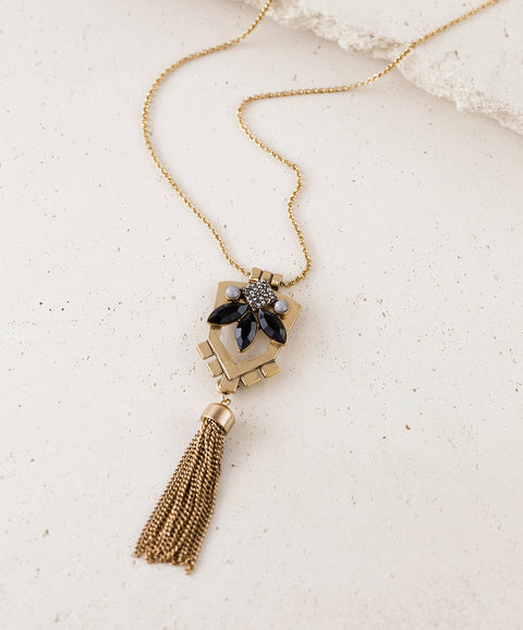 Convertible Tassel Black and Gold Pendant