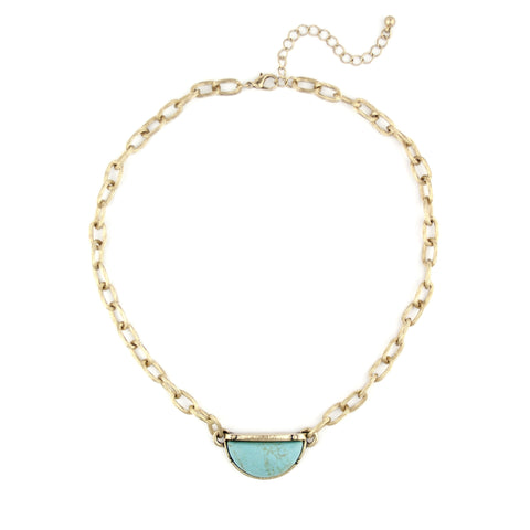 Semi-Circle Teal Stone Necklace with Gold Chain