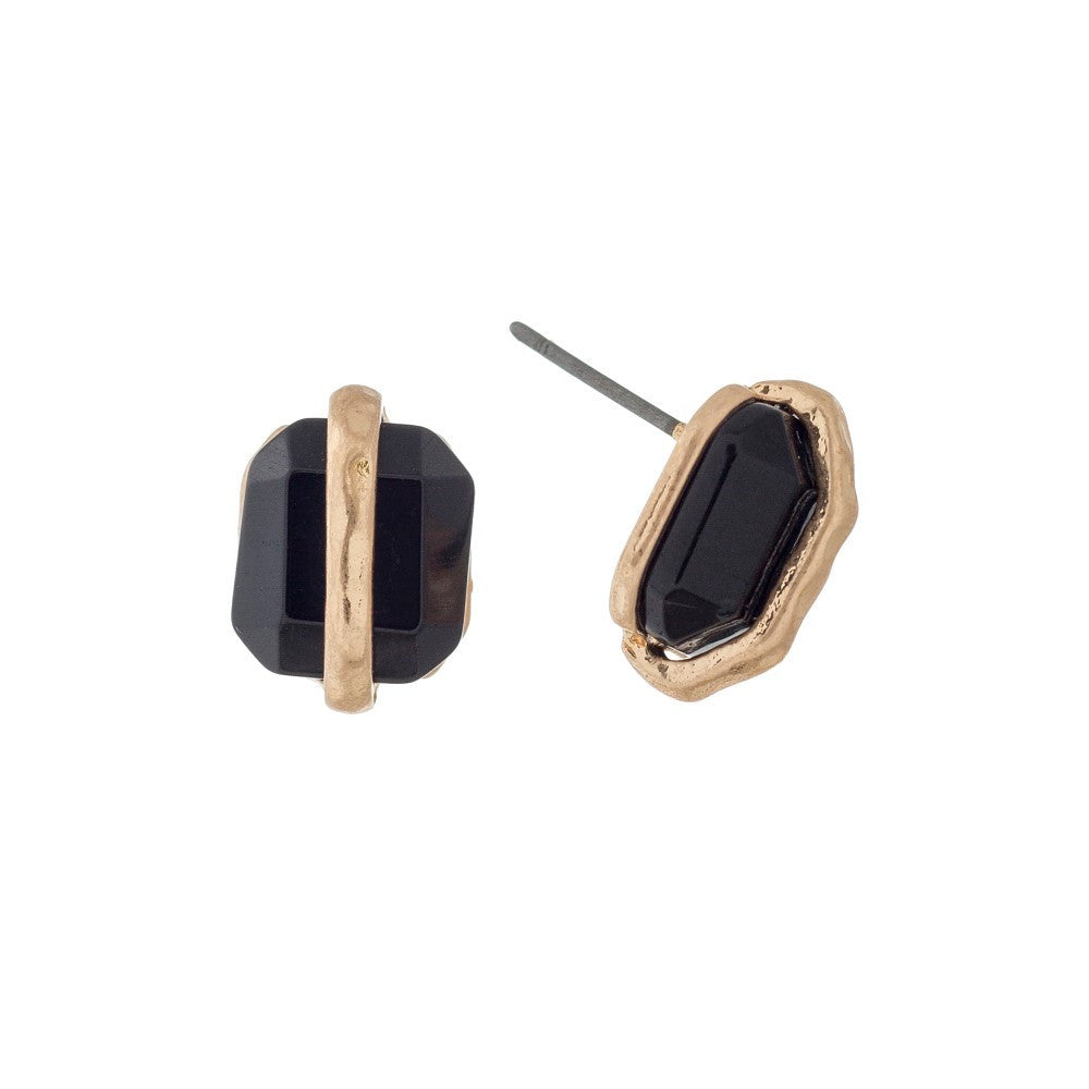 Black and Gold Stone Studs