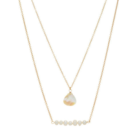 Gold Layered Necklace with Natural Stones and Pearl