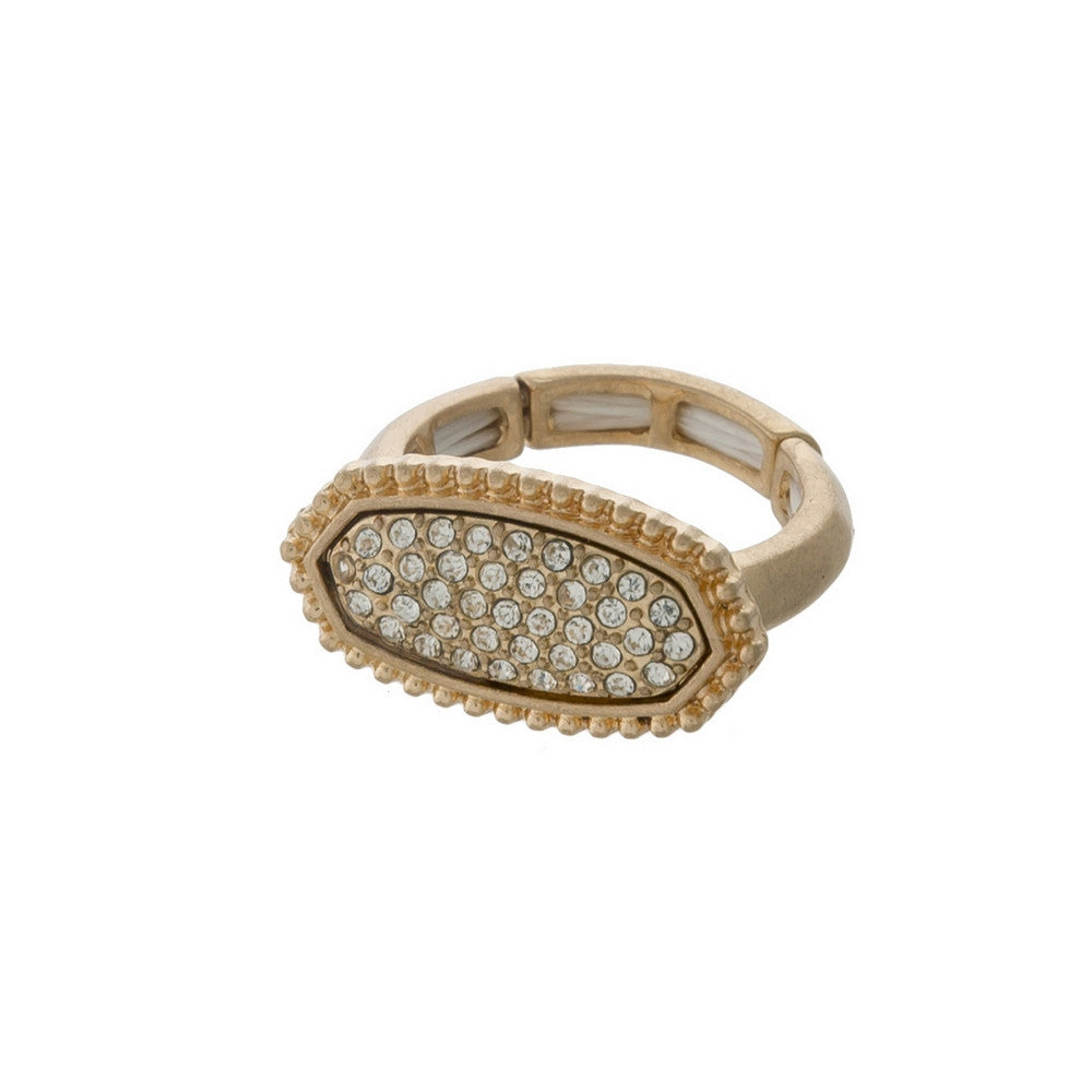 Gold Ring with Rhinestone Detailing