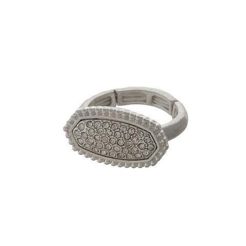 Silver Ring with Rhinestone Detailing