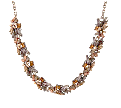 Burnt Orange and Earthtone Rhinestone Necklace