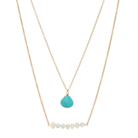 Turquoise & Freshwater Pearl Layered Necklace