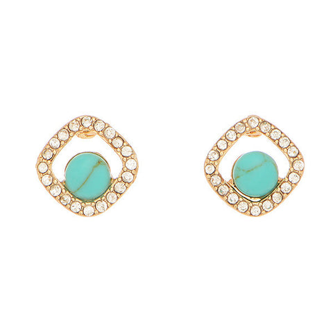 Turquoise & Crystal Studs