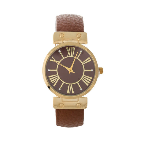 Brown and Gold Wrist Watch