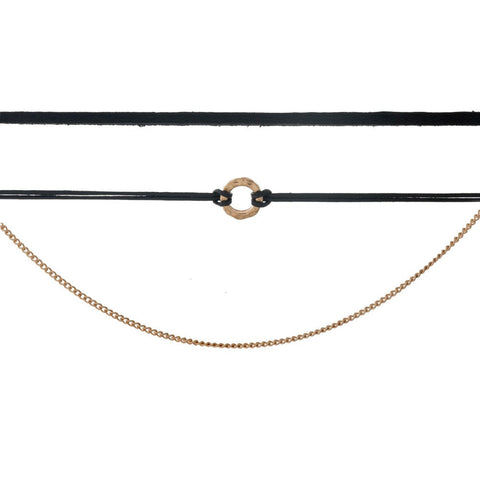 Three Row Circle Choker - Black
