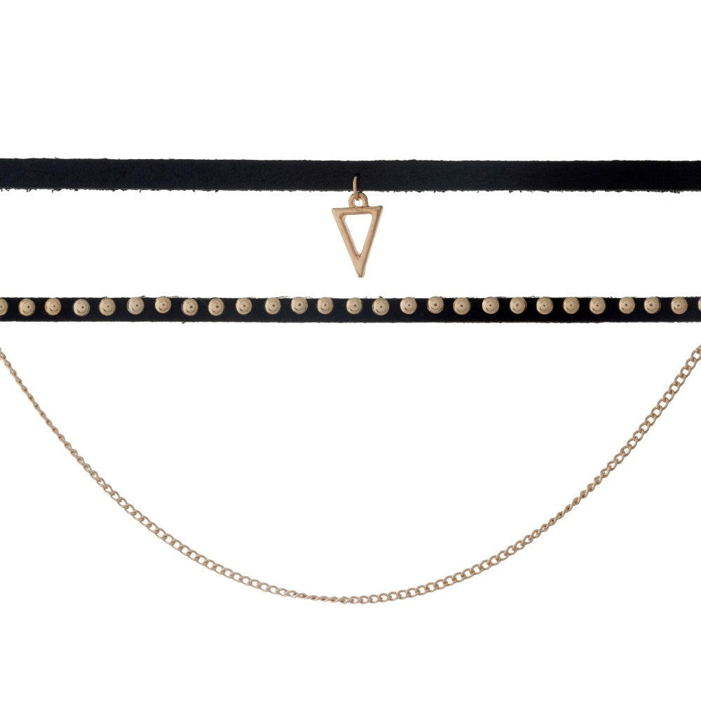 Three Row Choker - Triangle Charm