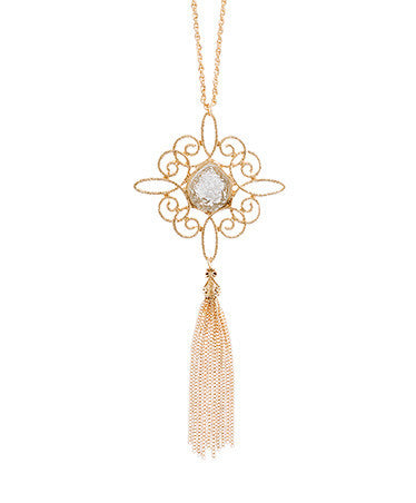 Filigree Necklace with Gold Tassel