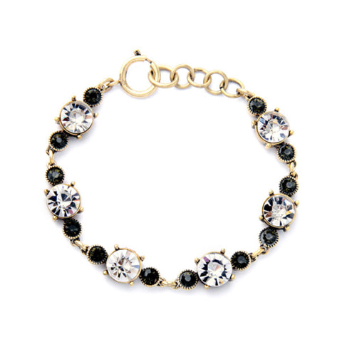 Delicate Clear and Black Crystal Bracelet
