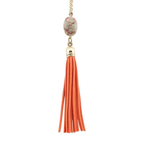 Everyday Stone Tassel in Orange