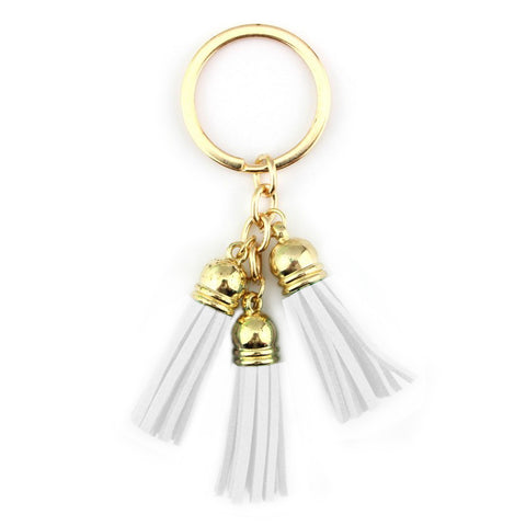 Tassel Keychain in White