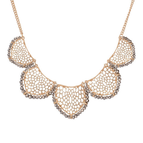 Gold Petal Statement Necklace with Grey Beading