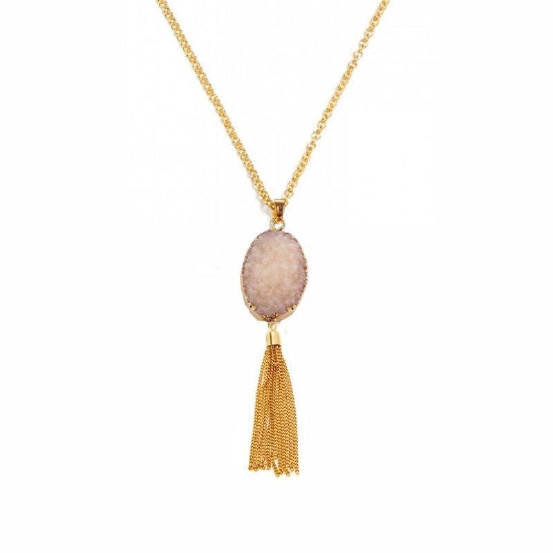 Natural Quartz Pendant in Pink