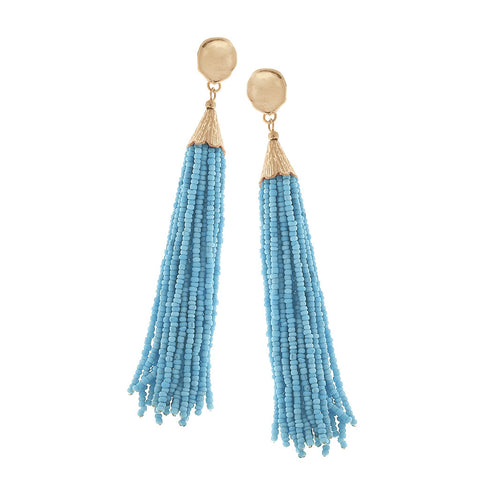 Light Blue Seed Beaded Tassel Earrings