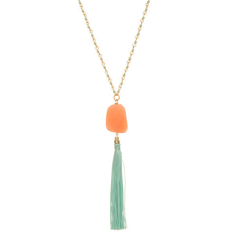 Coral Stone Pendant Necklace with Teal Fabric Tassel
