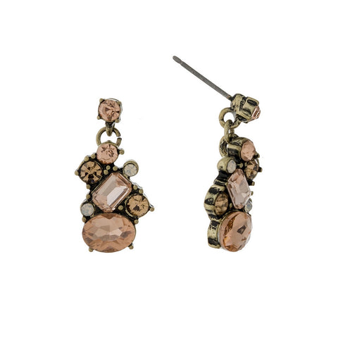 Pink Champagne Cluster Earrings