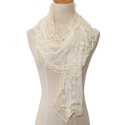 Lightweight Lace Cream Scarf