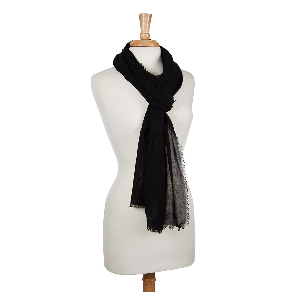 Simple Black Scarf with Micro Fringe