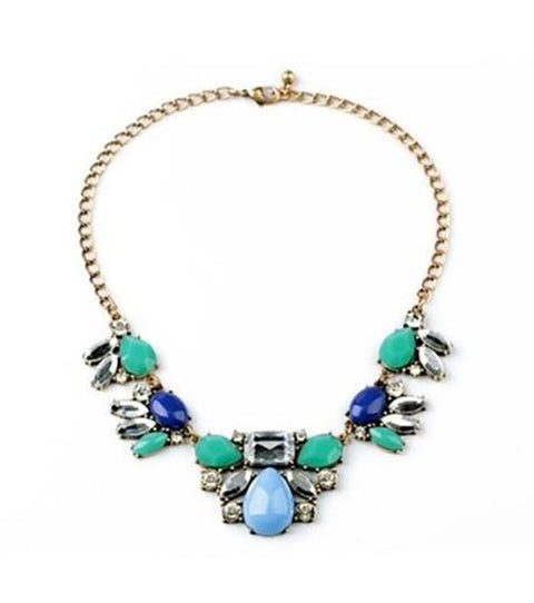 Bright Blue and Green Stone Statement Necklace