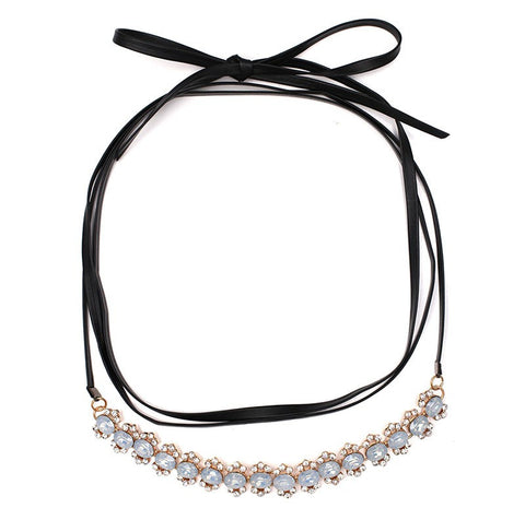 Black Choker with Light Blue Gems