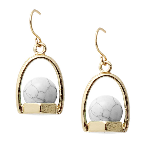 Audrey Earrings in White Marble