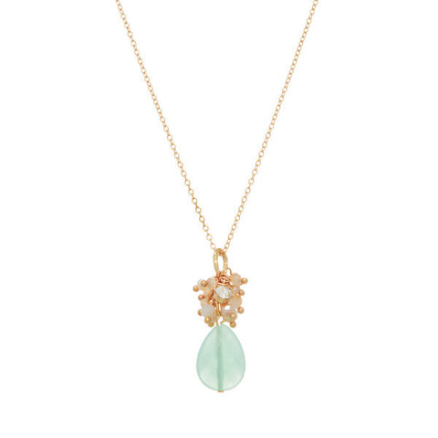 Delicate Mint Stone Cluster Necklace