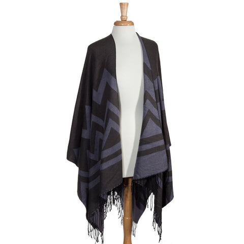 Cool Grey Chevron Shawl