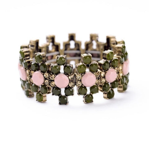Olive and Light Pink Gemmed Bracelet