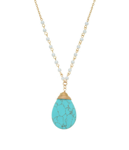 Turquoise and Pearl Pendant