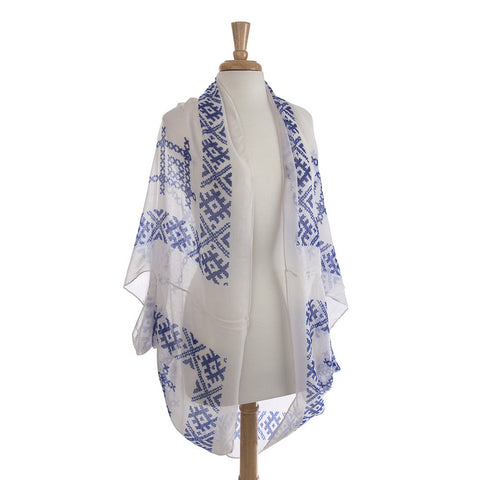 Lightweight Embroidered Shawl - Blue