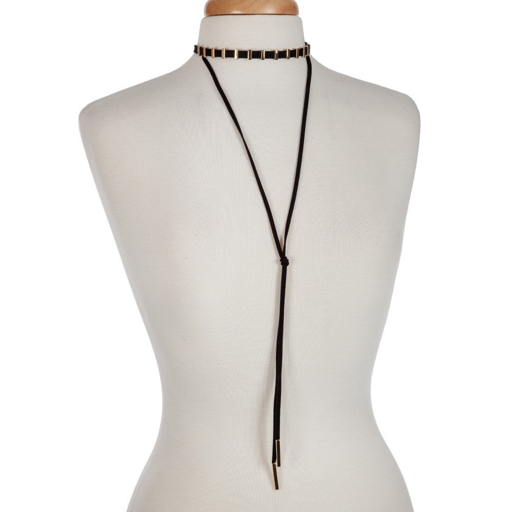 Black and Gold Choker with Layered Y Necklace