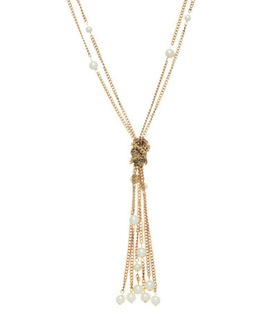 Knotted Gold and Pearl Tassel Necklace