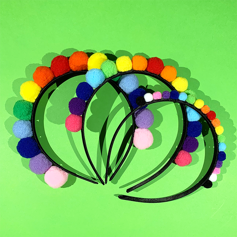 Rainbow Pom Pom Crowns