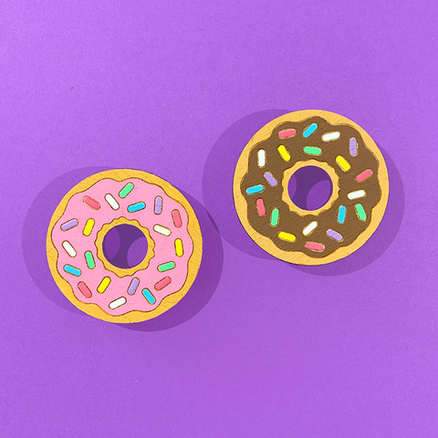 Hand Painted Donut Brooch