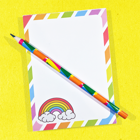 Rainbow notepad + pencil