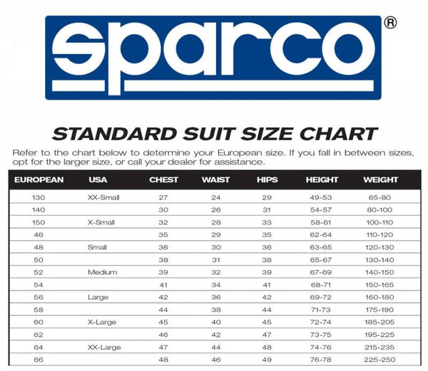 Sparco Size Chart – SparcoRacing
