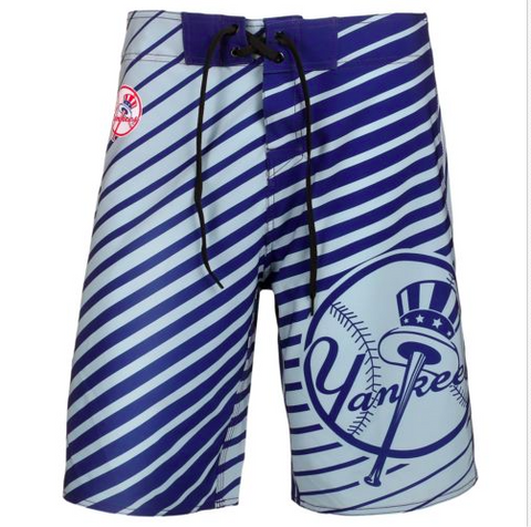 New York Yankees Mens Poly Stripe Swim and Board Shorts