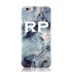 Blue Marble White Initials Case